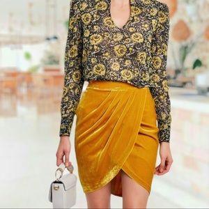 Veronica Beard Vega Ruched Velvet Tulip Skirt